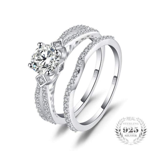 Image of Cubic Zirconia 2 Pieces Stackable Band Ring Set 925 Sterling Silver-JP_RINGS-JEFAMO