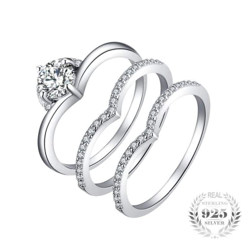 Cubic Zirconia 3 Pieces Solitaire Band Ring Set 925 Sterling Silver-JP_RINGS-JEFAMO