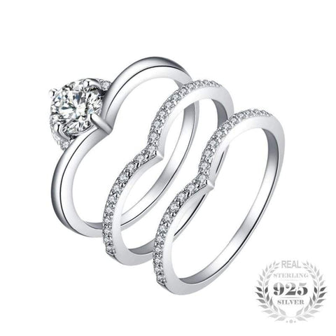 Image of Cubic Zirconia 3 Pieces Solitaire Band Ring Set 925 Sterling Silver-JP_RINGS-JEFAMO