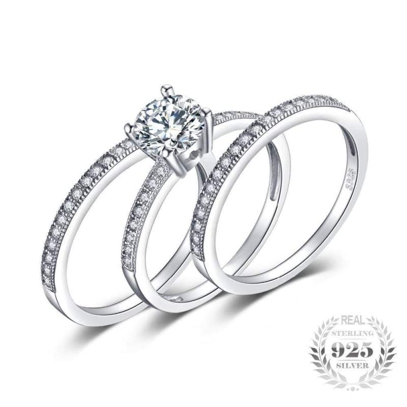 Cubic Zirconia 3 Pieces Stackable Band Ring Set 925 Sterling Silver-JP_RINGS-JEFAMO