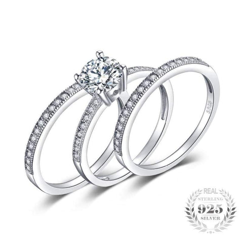 Image of Cubic Zirconia 3 Pieces Stackable Band Ring Set 925 Sterling Silver-JP_RINGS-JEFAMO