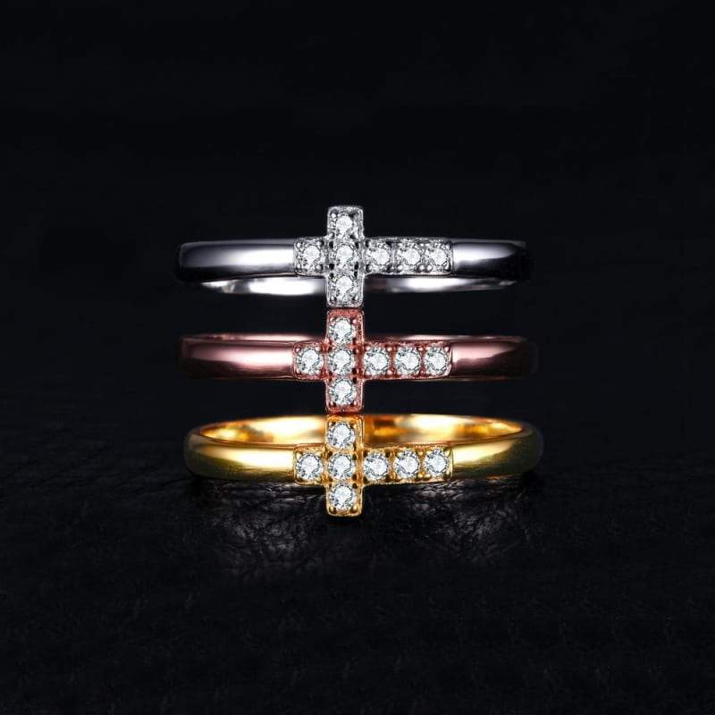 Cubic Zirconia Cross 3 Bands Ring Set 925 Sterling Silver-JP_RINGS-JEFAMO