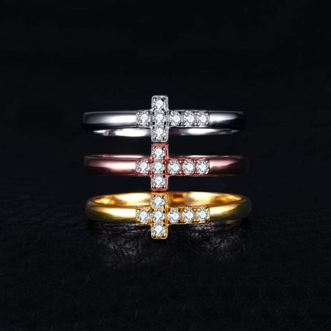 Image of Cubic Zirconia Cross 3 Bands Ring Set 925 Sterling Silver-JP_RINGS-JEFAMO
