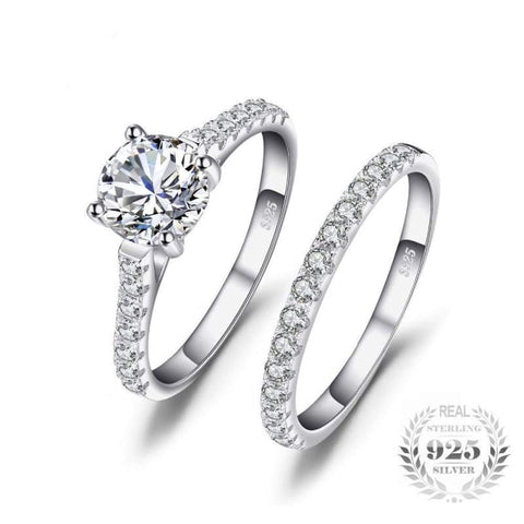 Image of Cubic Zirconia Solitaire Ring Set 925 Sterling Silver-JP_RINGS-JEFAMO