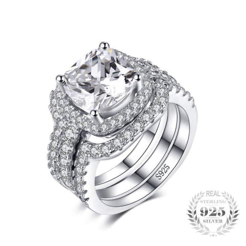 Image of Cushion Cut 3 Pieces Stackable Halo Solitaire Band Ring Set 925 Sterling Silver-JP_RINGS-JEFAMO