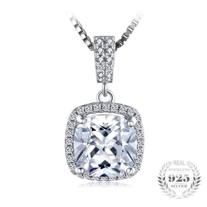 Cushion Cut Halo Solitaire Pendant 925 Sterling Silver-JP_PENDANTS-JEFAMO