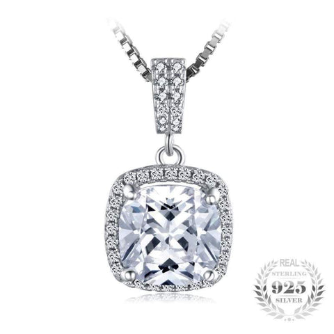 Image of Cushion Cut Halo Solitaire Pendant 925 Sterling Silver-JP_PENDANTS-JEFAMO