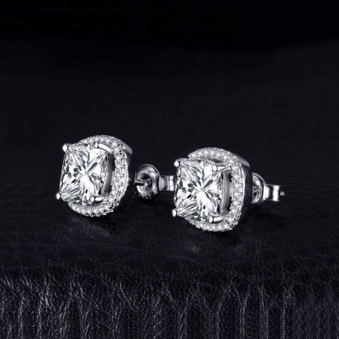 Cushion Cut Halo Stud Earrings 925 Sterling Silver-JP_EARRINGS-JEFAMO