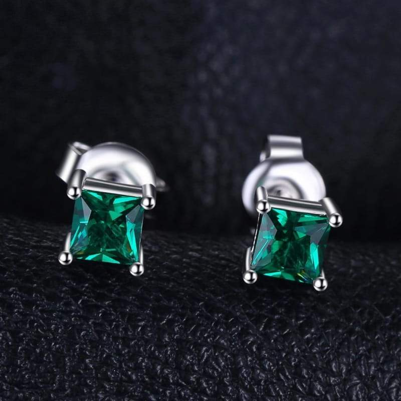 Dazzling Princess Cut Natural Created Emerald Earrings 925 Sterling Silver-JP_EARRINGS-JEFAMO