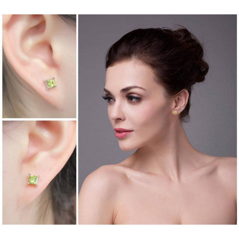 Image of Dazzling Princess Cut Natural Peridot Earrings 925 Sterling Silver-JP_EARRINGS-JEFAMO