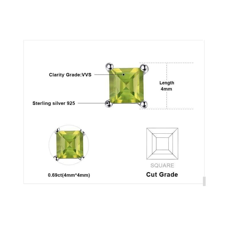 Dazzling Princess Cut Natural Peridot Earrings 925 Sterling Silver-JP_EARRINGS-JEFAMO