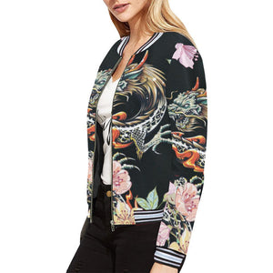 Dragon Design 1 Women's All Over Print Horizontal Stripes Jacket