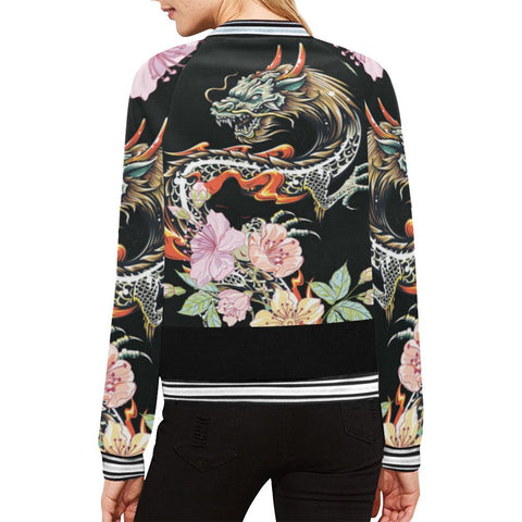 Image of Dragon Design 1 Women's All Over Print Horizontal Stripes Jacket-Jackets-JEFAMO