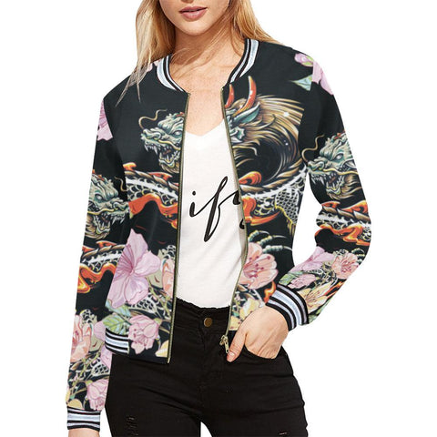 Dragon Design 1 Women's All Over Print Horizontal Stripes Jacket-Jackets-JEFAMO