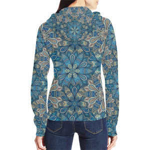 Embroidered Design 1 Women's All Over Print Full Zip Hoodie