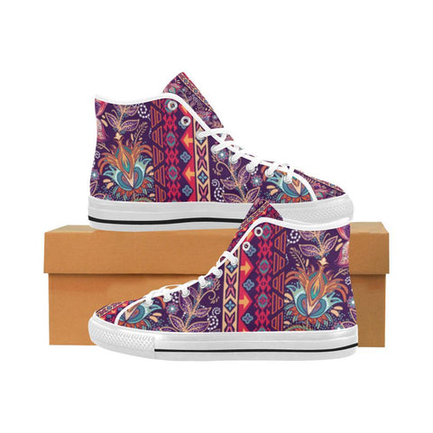 Image of Embroidered Design 2 Vancouver High Top Canvas Men's Shoes-Canvas Shoes-JEFAMO