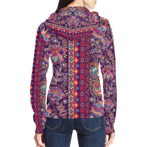 Embroidered Design 2 Women's All Over Print Full Zip Hoodie