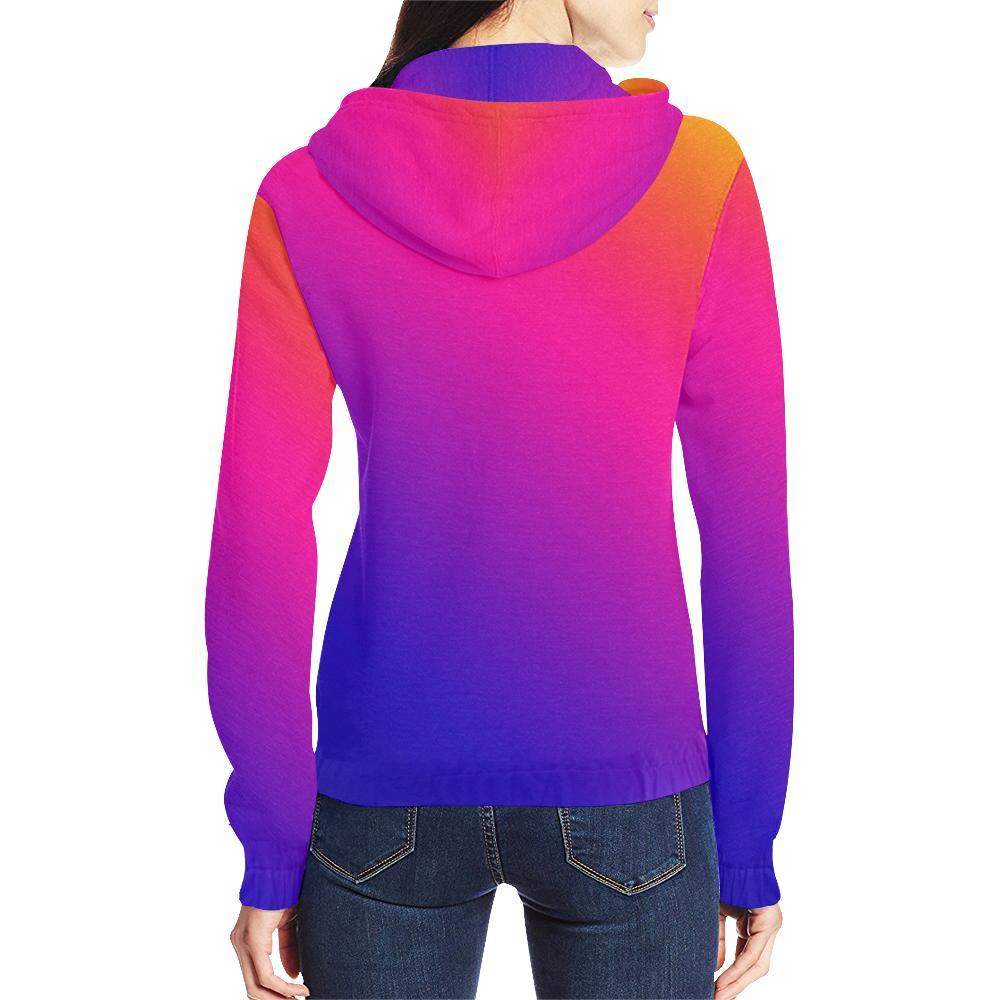 Fabled Sunset Design 1 Women's All Over Print Full Zip Hoodie-Hoodies-JEFAMO