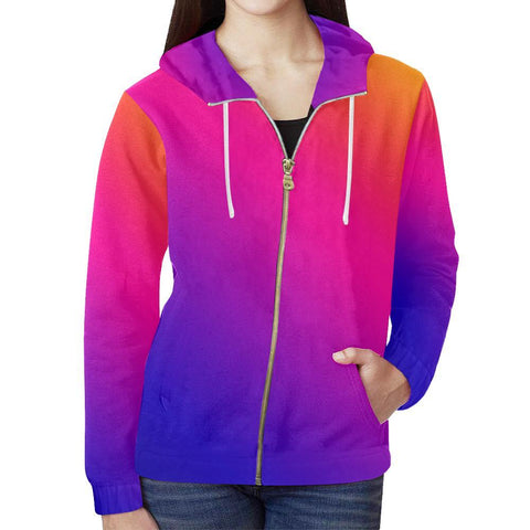 Image of Fabled Sunset Design 1 Women's All Over Print Full Zip Hoodie-Hoodies-JEFAMO