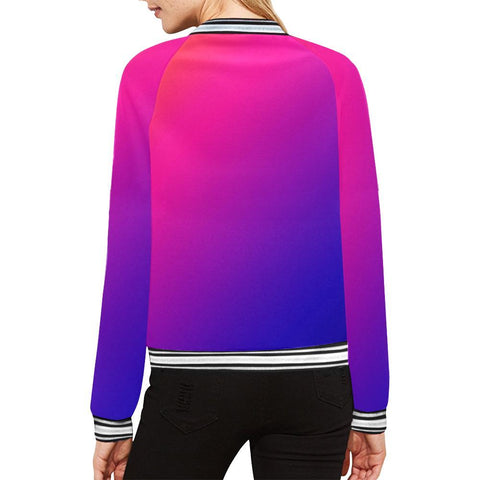 Fabled Sunset Design 1 Women's All Over Print Horizontal Stripes Jacket-Jackets-JEFAMO