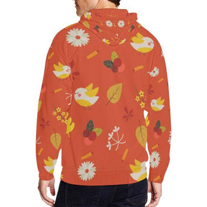 Floral Design Men's All Over Print Full Zip Hoodie (Model H14)