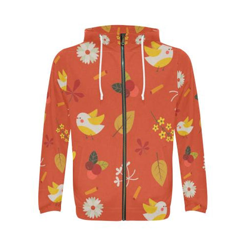 Image of Floral Design Men's All Over Print Full Zip Hoodie (Model H14)-All-over Hoodies-JEFAMO