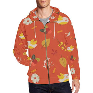 Floral Design Men's All Over Print Full Zip Hoodie (Model H14)-All-over Hoodies-JEFAMO