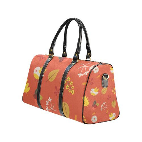 Floral Design Travel Bag Black (Small) (Model1639)-Travel Bags-JEFAMO