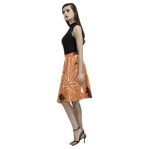 Floral Design Women's Pleated Midi Skirt (Model D15)-Skirts-JEFAMO