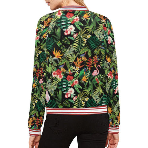 Image of Floral Tropics Design 2 Women's All Over Print Horizontal Stripes Jacket-Jackets-JEFAMO