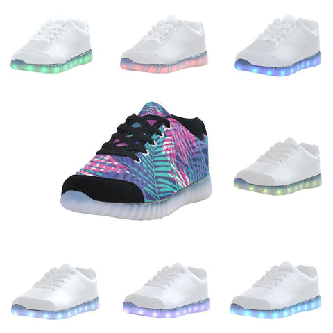 Floral Tropics Design 3 Light Up Casual Men's Shoes-Light Up Shoes-JEFAMO