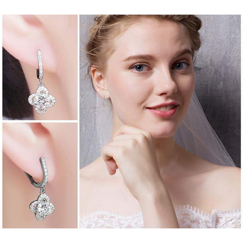 Flower Pattern Cubic Zirconia Dangle Earrings 925 Sterling Silver-JP_EARRINGS-JEFAMO