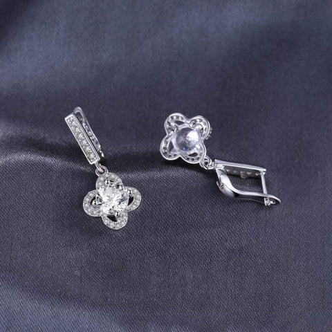 Image of Flower Pattern Cubic Zirconia Dangle Earrings 925 Sterling Silver-JP_EARRINGS-JEFAMO
