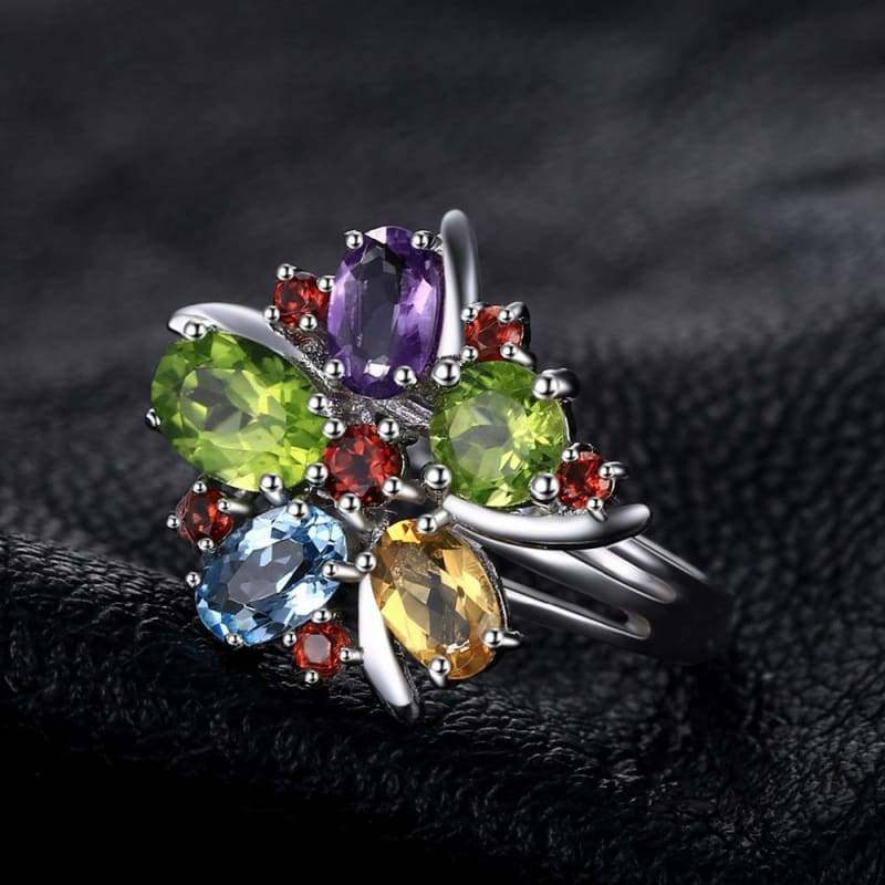 Flower Shaped Multi Gemstones Ring 925 Sterling Silver-JP_RINGS-JEFAMO