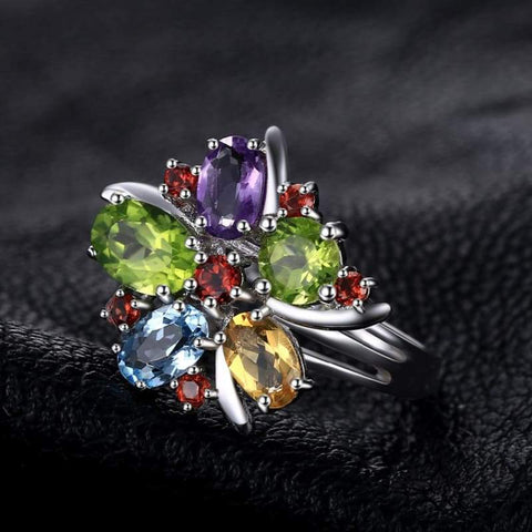 Image of Flower Shaped Multi Gemstones Ring 925 Sterling Silver-JP_RINGS-JEFAMO