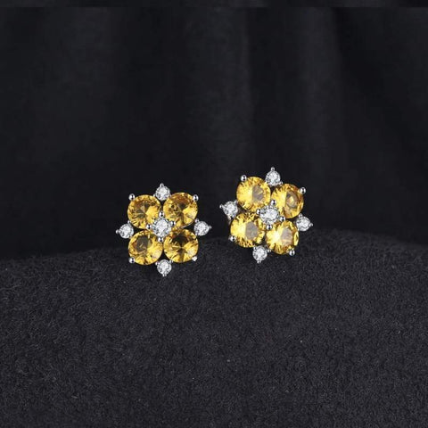 Image of Flower Shaped Orange Created Sapphire Earrings 925 Sterling Silver-JP_EARRINGS-JEFAMO