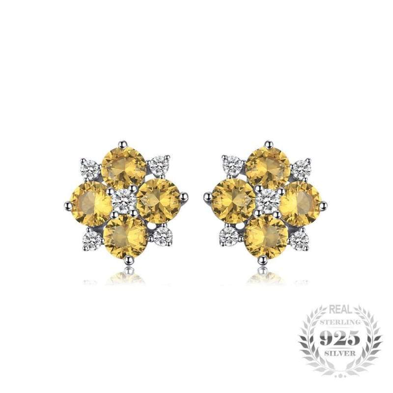 Flower Shaped Orange Created Sapphire Earrings 925 Sterling Silver-JP_EARRINGS-JEFAMO