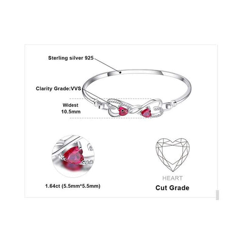 Forever Love Heart shaped Created Ruby Bangle Bracelet 925 Sterling Silver-JP_BRACELETS-JEFAMO
