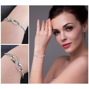 Forever Love Infinity Bangle Bracelet 925 Sterling Silver