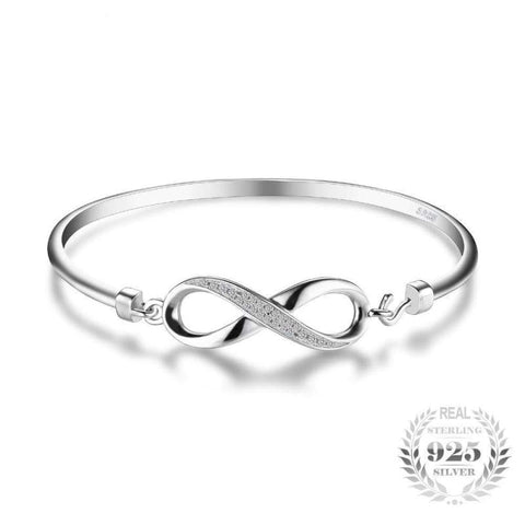 Image of Forever Love Infinity Bangle Bracelet 925 Sterling Silver-JP_BRACELETS-JEFAMO