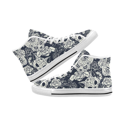 Image of Fox Skull Design 1 Vancouver High Top Canvas Men's Shoes-Canvas Shoes-JEFAMO