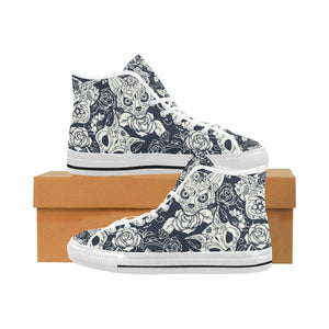 Fox Skull Design 1 Vancouver High Top Canvas Men's Shoes-Canvas Shoes-JEFAMO