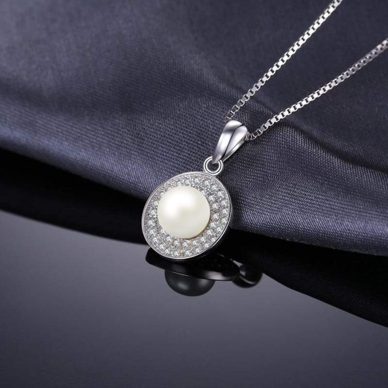 Freshwater Cultured White Pearl Halo Pendant 925 Sterling Silver-JP_PENDANTS-JEFAMO