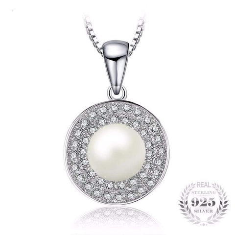 Image of Freshwater Cultured White Pearl Halo Pendant 925 Sterling Silver-JP_PENDANTS-JEFAMO
