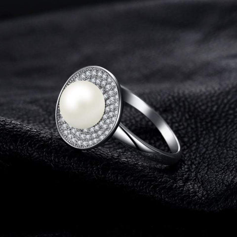 Image of Freshwater Cultured White Pearl Halo Ring 925 Sterling Silver-JP_RINGS-JEFAMO