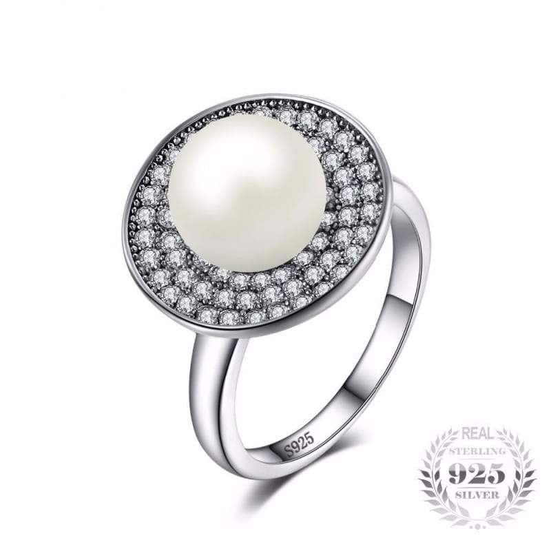 Freshwater Cultured White Pearl Halo Ring 925 Sterling Silver-JP_RINGS-JEFAMO