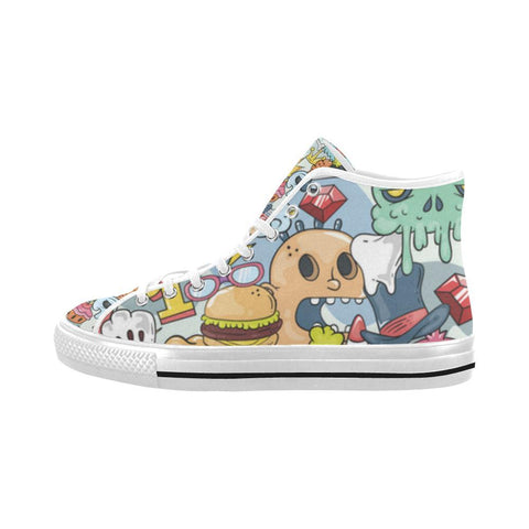 Funny Characters Design 1 Vancouver High Top Canvas Men's Shoes-Canvas Shoes-JEFAMO