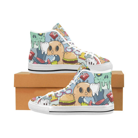 Image of Funny Characters Design 1 Vancouver High Top Canvas Men's Shoes-Canvas Shoes-JEFAMO