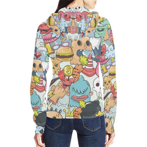 Funny Characters Design 1 Women's All Over Print Full Zip Hoodie