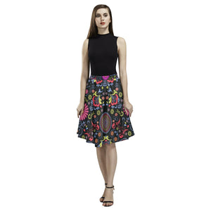 Glory Refuge Design 1 Women's Pleated Midi Skirt-Skirts-JEFAMO